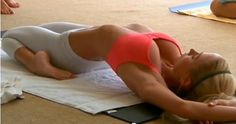 Supta Vajrasana - Fixed Firm Pose - Slims and tones thighs, firms calf muscles and strengthens the abdomen.  Lubricates and increases circulation to joints.  Strengthens and lengthens abdominal muscles.