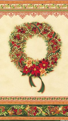 """Holiday Flourish 8 - Wreath - Red/Gold - 24"""" x 44"""" PANEL, Penny Toole"""