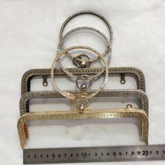 DIY women purse coin bag metal frame bronze silver light golden color carved edge diamond handle 3pcs/lot