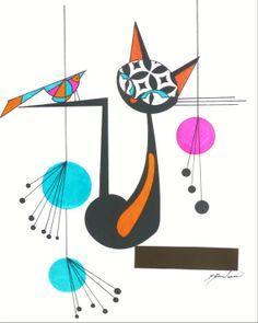 Atomic Mid Century Modern Cat Print Retro Art by COLBYandFRIENDS, $30.00