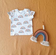 Rainbows organic cotton baby / toddler t-shirt -  print t-shirt for boys or girls -  boho baby clothes - organic baby clothes - summer tee