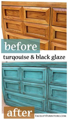 This dresser is among the must unique I've refinished. The molding around the fronts of the drawers double as the pulls! This dresser is painted, glazed, and distressed in Turquoise, with heavy Black Glaze on the piece. The before and after photos here capture the transformation. Related