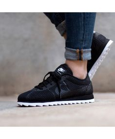 3015648b6c2e8 Nike Cortez Ultra Breathe Triple Black Trainers Outlet UK Nike Cortez  Black