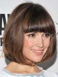 Short Hair With Blunt Bangs   short hairstyles for thick straight fine hair with blunt bangs
