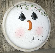 Hand painted snowman pot lid