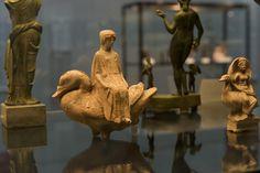 "Aphrodite riding on a goose |   Terracotta from Locri, Calabria, Italy Made in Boeotia c. 470 – 460 BC.   From the exhibition ""Die Unsterblichen Götter Griechenlands"" Munich. Antikensammlungen"