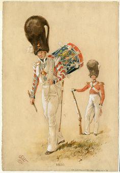Scots Guards, Drummer, 1830 by Reginald Augustus Wymer Drummers, British Army, 21st Century, Soldiers, Tartan, Third, Battle, Victorian, Military Uniforms
