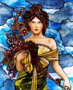 Art Nouveau Style Spring Stained Glass by Jim M. Berberich, Bogenrief Studios, inspired by Alphonse Mucha