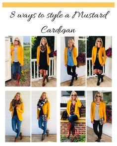 Senfgelbe strickjacke September Budget Friendly Fashion Round-Up Although there are some out there w Mustard Cardigan Outfit, Yellow Cardigan Outfits, Winter Cardigan Outfit, Mustard Yellow Cardigan, Chambray Shirt Outfits, Blue Dress Outfits, Yellow Jeans, Yellow Sweater, Fall Winter Outfits