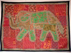 HANDMADE ELEPHANT BOHEMIAN PATCHWORK WALL HANGING EMBROIDERED TAPESTRY INDIA X16…
