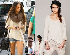 Selena Gomez caught up with friends in LA on Saturday. She looked cute wearing a Free People Story Teller Tee in color Oatmeal. You can grab this sweater from FreePeople.com for $68. Buy it HERE Thanks it—only-takes-a—spark! She's also wearing a Free People scarf, carrying a Frye bag and Boostcase iPhone case. Check out these similar comfy tees: