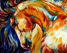 """""""STALLION"""" by Marcia Baldwin, Shreveport, Louisiana // A Beautiful Wild Stallion depicted in southwest colors. Celebrating the bold spirit of the equine, a favorite subject of the artist, Marcia Baldwin. This is from an original oil painting by M Baldwin created in June 2007. Original is sold to a private collection. For other... // Imagekind.com -- Buy stunning, museum-quality fine art prints, framed prints, and canvas prints directly from independent working artists and photographers."""