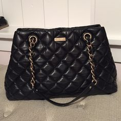 """Stunning Kate Spade Gold Coast Maryanne Handbag Absolutely gorgeous quilted black leather double chain strap handbag. Excellent condition inside and out. 15"""" wide 10.5"""" height x 4"""" deep. kate spade Bags Shoulder Bags"""