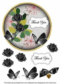 Black Rose Thank You 7in Circle Decoupage Topper on Craftsuprint - Add To Basket!