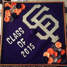 SFSU graduation cap for ceremony at AT&T Park.
