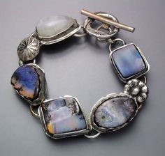 Four Opals and a Moonstone Bracelet by Temi on Etsy, $270.00