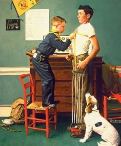 Norman Rockwell -vintage kids and dog art