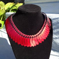Scale Fringe Bib Necklace by UtopiaArmoury on Etsy, $35.00