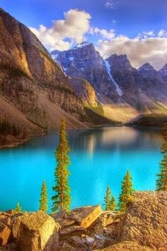 Moraine Lake in Alberta Canada. Look at the crytal blue color of their lakes!!! A far cry from the great lakes.