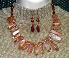 "Titanium Drusy Crystals 23"" Necklace with FREE Matching Earrings.  $36.00 SOLD!"