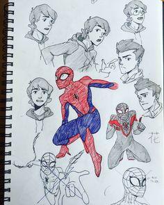 Spiderman Sketches, Spiderman Drawing, Marvel Drawings, Spiderman Poses, Amazing Spiderman, Marvel Fan Art, Marvel Avengers, Character Art, Character Design