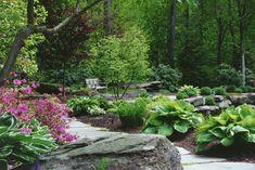 Natural Garden Pathway in Orange County, NY Sidewalk Landscaping, Garden Landscaping, Rustic Gardens, Outdoor Gardens, Hosta Gardens, Garden Posts, Garden Images, Mosaic Garden, Small Garden Design