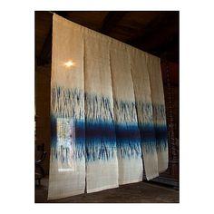 """Rowland Ricketts, Untitled Noren, 2006, indigo dyed ramie, shibori, 75"""" x 75"""""""