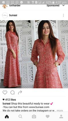 Discover thousands of images about Red cotton long kurti Indian Attire, Indian Wear, Indian Dresses, Indian Outfits, Churidar Designs, Mode Hijab, One Piece Dress, Indian Designer Wear, Cotton Dresses