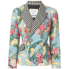 Moschino Vintage Floral Gingham Blazer (750 CAD) ❤ liked on Polyvore featuring outerwear, jackets, blazers, blue, vintage floral blazer, moschino jacket, colorful blazers, vintage jacket and blue double breasted jacket
