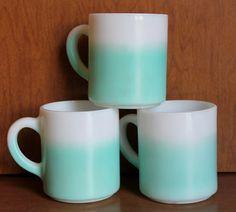"3 Hazel Atlas mugs. Turquoise ""Pastel Fade"""