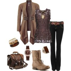 """""""Brown Waterfall"""" by alerogirl on Polyvore"""