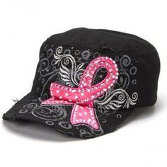PINK RIBBON BREAST CANCER AWARENESS HAT (Available in White or Black) 615784917ca7