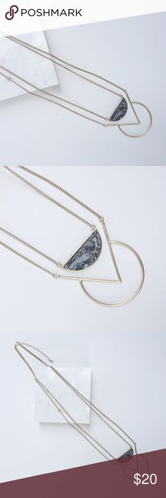 "NWT || Gold Grey Marbled Geometric Stone Necklace Gold Grey Marbled Geometric Stone Necklace. Chic and simple. Natural Stones may vary in color. Length: Approx 26"" + 3"" Extension. Price is firm unless bundled. Bundle 4 and save 20%. Jewelry Necklaces"
