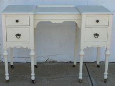 Vintage Shabby Chic Vanity with Casters by 2xisnice on Etsy, $235.00