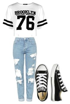 """""""Back to school"""" by adrienne-mouhot on Polyvore featuring Boohoo, Topshop and Converse"""