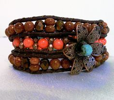 3X Leather Wrap Autumn Colors Sandstone by CrystalFascination, $48.50
