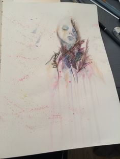 Woman in the style of carne griffiths, watercolour and fineliner