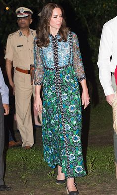 Anna Sui: USA  This was Kate's assured choice for her recent visit to the Bihu Festival Celebration in India's Kaziranga National Park. It was the first time the Duchess had worn Anna Sui, renowned for her bohemian and often psychedelic prints.   The green-and-blue printed dress with a crinkled bodice and pleated skirt was perfect for keeping the Duchess cool and covered in the heat while showing her playful side for the celebrations.
