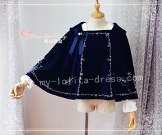 Magic Tea Party Embroidery Lolita Cape with Hood $50.99-Lolita Jackets - My Lolita Dress