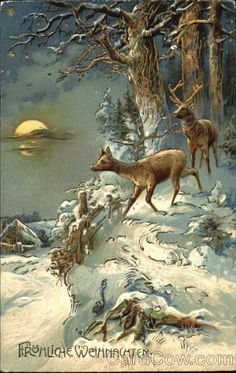 ck deer in winter woods print...looks vintage, lovely