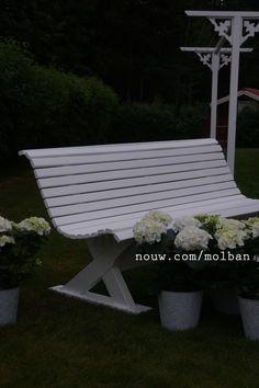 Bench, bänk, hydrangeas, hortensia, tvättlina, torklina, garden, sweden, dalarna