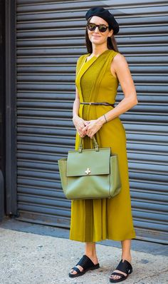 As long as the straps aren't spaghetti, you're in the clear. Gala Gonzalez shows us how it's done in this stunning mustard yellow number. Summer Work Dresses, Yellow Dress Summer, Summer Dress Outfits, Summer Dresses For Women, Casual Dresses, Fashion Dresses, Sexy Dresses, Fashion Clothes, Gala Gonzalez