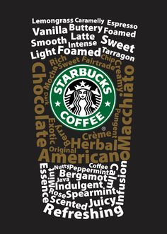 "Reminds me of an specific ""brainstorming"" :P @Sunniest 6 Months Vizcaino    Starbucks Typography Poster by Terry Stevenson, via Behance"