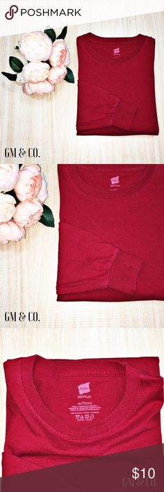 Hanes Crew Neck LS T-Shirt Hanes Crew Neck LS T-Shirt in an awesome shade of red!   Style: Ribbed cuffs and rounded bottom.  Condition: Excellent used condition.  Fabric: 100% Cotton.  Size: XL.   Thank you for stopping by my closet. Please let me know if you have any questions. 🍁GM Hanes Shirts Tees - Long Sleeve