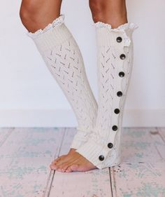 Lacy open knit leg warmers with buttons