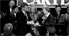 President Jimmy Carter and Senator Edward M. Kennedy had been sharp adversaries with a bad history, and in the 1980 presidential campaign they let it bleed into a bad nomination fight . . .  . (Photo: Sen. Edward Kennedy greeting Pres. Jimmy Carter in Boston in 1980, weeks after losing the Democratic nomination to him).