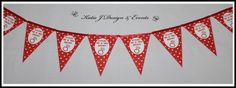 Pennant Banner Bunting #Red #White #Hearts #Engagement #Party #Colour #Schemes #Bunting #Party #Decorations #Ideas #Banners #Cupcakes #WallDisplay #PopTop #JuiceLabels #PartyBags #Invites #KatieJDesignAndEvents #Personalised #Creative
