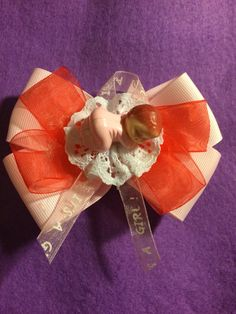 Its a Girl Hair Bow by HelgasHairBowDesigns on Etsy