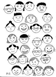 Cherche et Trouve. Kawaii Drawings, Doodle Drawings, Cartoon Drawings, Easy Drawings, Doodle Art, Coloring Books, Coloring Pages, Face Doodles, Doodle People
