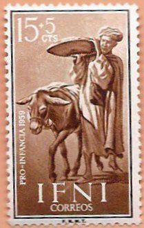 Sello Ifni de 15+5  céntimos, Pro Infancia, 1959 - Portal Fuenterrebollo